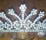 Diadem Haarreif Strass Hochzeit Halloween Silber Luxus Tiara. - Hamburg