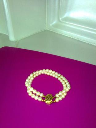 Perlen-Armband mit Goldverschluss - 2-reihig