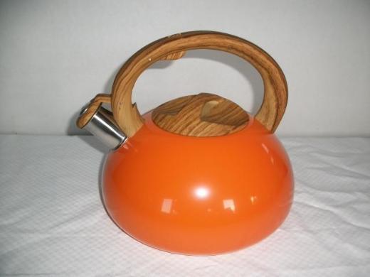Teekessel 3 Liter, orange/holzoptik - Wagenfeld