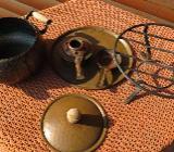 Fondue-Topf aus Kupfer mit Brenner und Unterteller - Wildeshausen