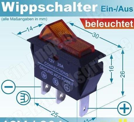"""Titan Tec Wippschalter gelb beleuchtet 12V/16A """" NEU """" - Verden (Aller)"""