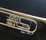 Orig. Meister J. Scherzer Konzert Trompete Ref. 8211 Goldmessing mit Neusilberkranz