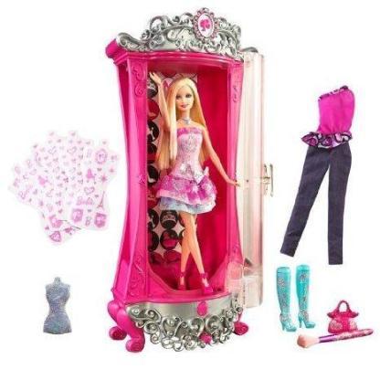 Barbie - Modezauber in Paris - Glitterizer Kleiderschrank - Barbie und viel Zubehör