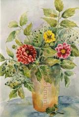 Dahlien mit Holunder - Aquarell 40 x 50 cm Original Ingrid Wolff-Bleekmann