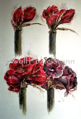Amaryllis Nr. 2 - Ökreide auf Aquarellpapier 40 x 60 cm mit Rahmen Original Ingrid Wolff-Bleekmann