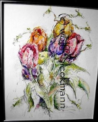 Freilandtulpen 4.06 - I, Ölpastellkreiden 60 x 50 cm Original Ingrid Wolff-Bleekmann