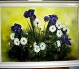 Iris mit Margeriten, Öl auf Leinwand, 70 x 50 cm, Original, Unikat, Wolff-Bleekmann - Münster