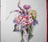 Blumengesteck I - Ölpastellkreiden – Caran d'Ache - auf Aquarellpapier 40 x 50 cm Original Ingrid Wolff-Bleekmann - Münster