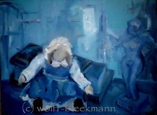 Schauplatz III - Öl auf Leinwand 40 x 30 cm Original Ingrid Wolff-Bleekmann