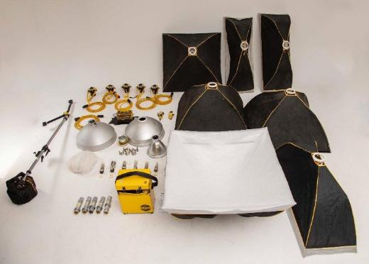 Briese Blitzanlage: 5x Blitzkopf, 7x Softbox, 4x Dish, 2x Wabe, Generator, Kabel