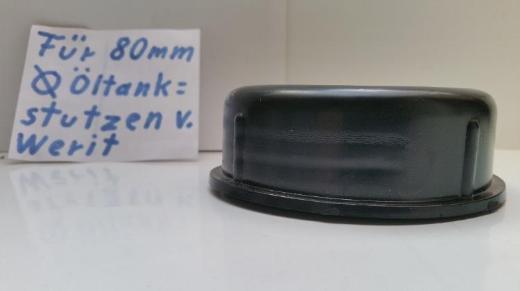 6 Verschluss-Kappen, Schutzkappen für 85mm Werit Öltank-Stutzen, neu - Münster