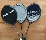 3 Badmintonschläger inkl. Hülle und Bälle, 1x Head - Lotte