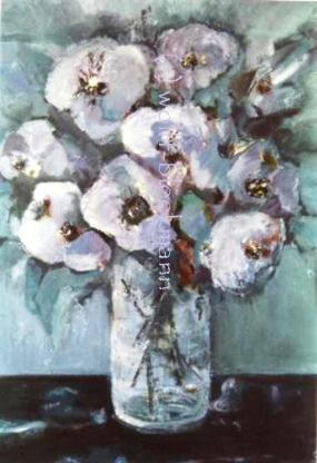 Blaues Blumenbild - Acryl auf Leinwand 40 x 50 cm Original Ingrid Wolff-Bleekmann Unikat