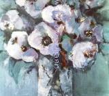 Blaues Blumenbild - Acryl auf Leinwand 40 x 50 cm Original Ingrid Wolff-Bleekmann Unikat - Münster