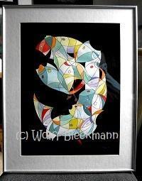 Kunst des Überlebens III - Unikat Mischtechnik 40 x 50 cm mit Rahmen Original Ingrid Wolff-Bleekmann