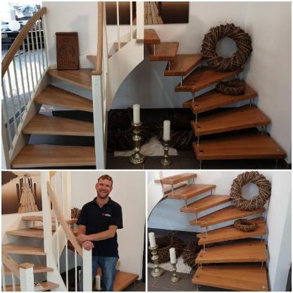 Holztreppe Wangentreppe Bolzentreppe maßgefertigt