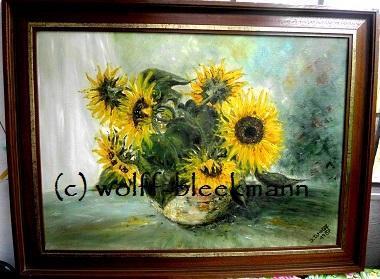 """""""Sonnenblumen"""" - Öl auf Leinwand mit Rahmen 81 x 61 cm Original Ingrid Wolff-Bleekmann"""