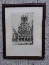 """Originalradierung """"Westfälische Rathaus Münster """""""