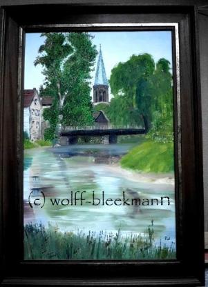 Clemenskirche mit Ems, Telgte - Öl auf Leinwand 40 x 60 cm Original Ingrid Wolff-Bleekmann