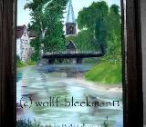 Clemenskirche mit Ems, Telgte - Öl auf Leinwand 40 x 60 cm Original Ingrid Wolff-Bleekmann - Münster
