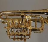 Meister J. Scherzer Piccolotrompete, Mod. 8111 AU, 24 Kt. Vergoldet, Neuware / OVP - Hagenburg