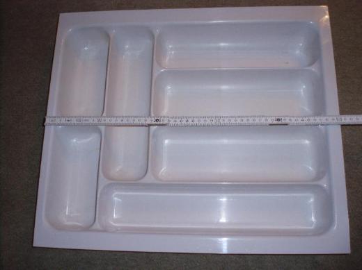 Besteckkasteneinsatz, 50,3cm x 43,3cm x 6,6cm hoch, weiß, gebraucht, kürzbar - Münster