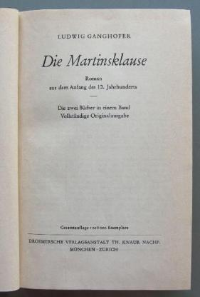 Ganghofer: Die Martinsklause. - Münster