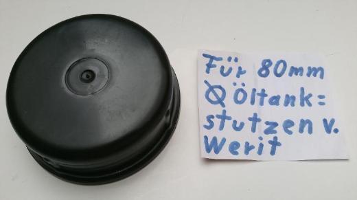 6 Verschluss-Kappen, Schutzkappen für 85mm Werit Öltank-Stutzen, neu
