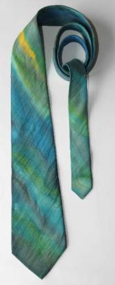 Seiden-Krawatte, aquarellartiges Design, grün-türkis-blau