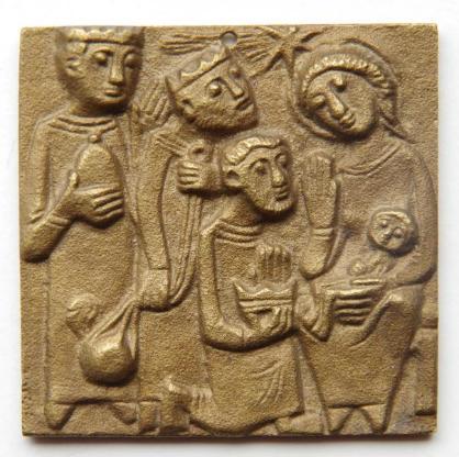 Messingplatte Motiv Drei Könige an Krippe, ca. 5x5 cm