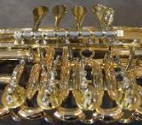 Melton Meisterwerk Tenorhorn, Goldmessing, 4 Ventile mit Ventildeckelgravuren. NEU - Hagenburg