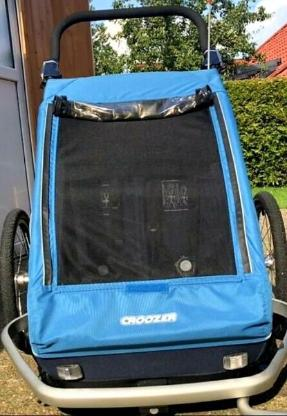 Fahrradanhänger *CROOZER Kid PLUS for 2(gefedert)/2018 in Ocean Blue*
