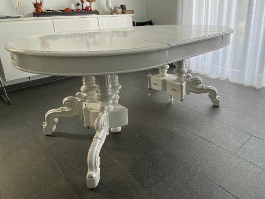 Antiker Esstisch, weiß, ausziehbar