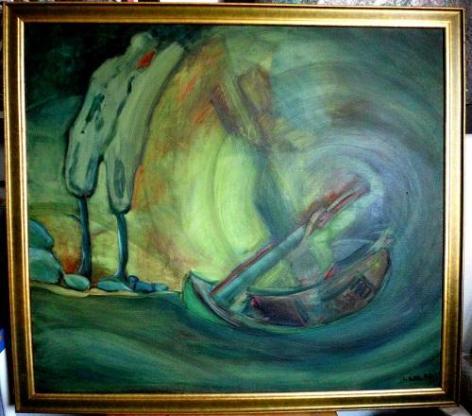 Sturm des Lebens, Öl auf Leinwand, 90 x 80 cm, Unikat, Original, Ingrid Wolff-Bleekmann