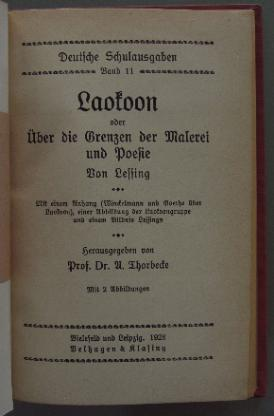 Lessing: Laokoon. Schulausgabe 1928. - Münster