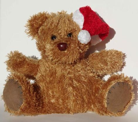 Weihnachts-Teddy, sitzend, ca. 19 cm hoch