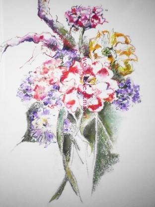 Blumengesteck I - Ölpastellkreiden – Caran d'Ache - auf Aquarellpapier 40 x 50 cm Original Ingrid Wolff-Bleekmann