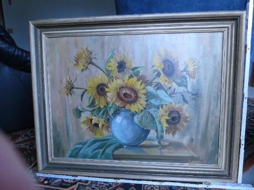 Signiertes Stillleben mit Sonnenblumene, Bild, Gemälde