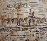 Silberdistel Fayencen Dekor Fliese, Motiv - Römische Stadtansicht von Neuss mit dem Rhein im Vordergrung - Münster