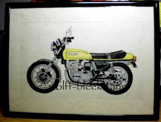 Honda CB 750 Four - Original Zeichnung Mischtechnik auf Büttenpapier 25 x 19 cm Ingrid Wolff-Bleekmann