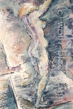 Frau im Raum, Serie 12.96 IV – Ölpastellkreiden – Caran d'Ache - 40 x 50 cm Original Ingrid Wolff-Bleekmann