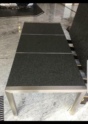 Esstisch mit Edelstahlgestell und Granit/Marmor Tischplatte - Mettingen