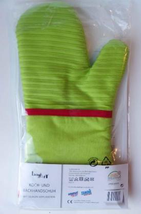 Koch- u. Backhandschuh, grün, neu, originalverpackt.