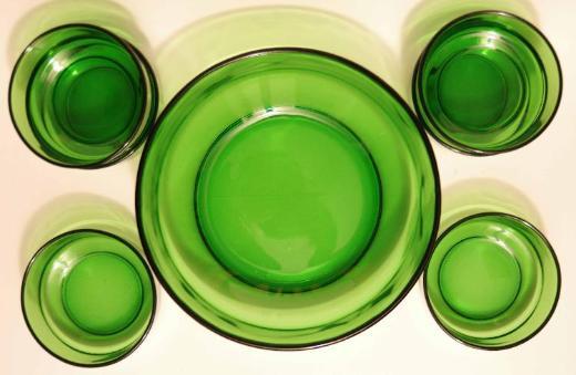Glas-Schüssel + 6 Schälchen, Vintage ca. 60er Jahre, Italien - Münster