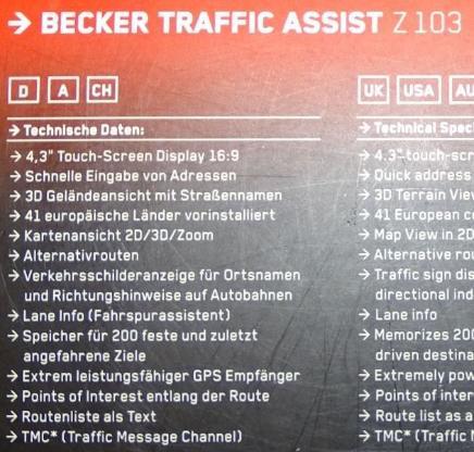 Navi BECKER TRAFFIC ASSIST Z 103 - Raesfeld