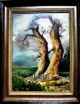 Eichen im Sturm - Öl auf Leinwand 39 x 49 cm mit Rahmen Original Ingrid Wolff-Bleekmann