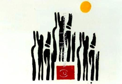 Gedankenlos - Grafik 60 x 50 cm Drucktechnik auf Aquarellkarton Original Ingrid Wolff-Bleekmann
