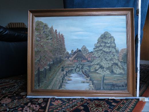 Signiertes Landschaftsbild mit Teich und Gutshof, Bild, Gemälde