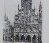 """Originalradierung """"Westfälische Rathaus Münster """" - Nottuln"""