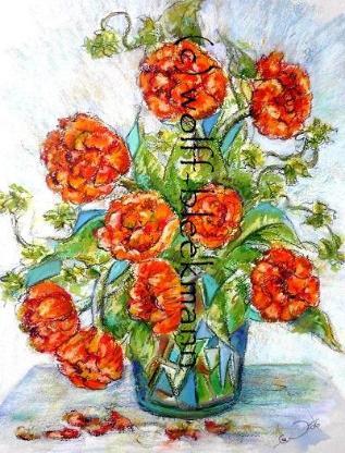Tulpen-Stillleben - Ölkreide 30 x 40 cm Original Ingrid Wolff-Bleekmann